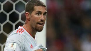 Ramos, en un partido de España.