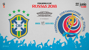 Partido Brasil vs Costa Rica el viernes 22 de noviembre a las 14.00