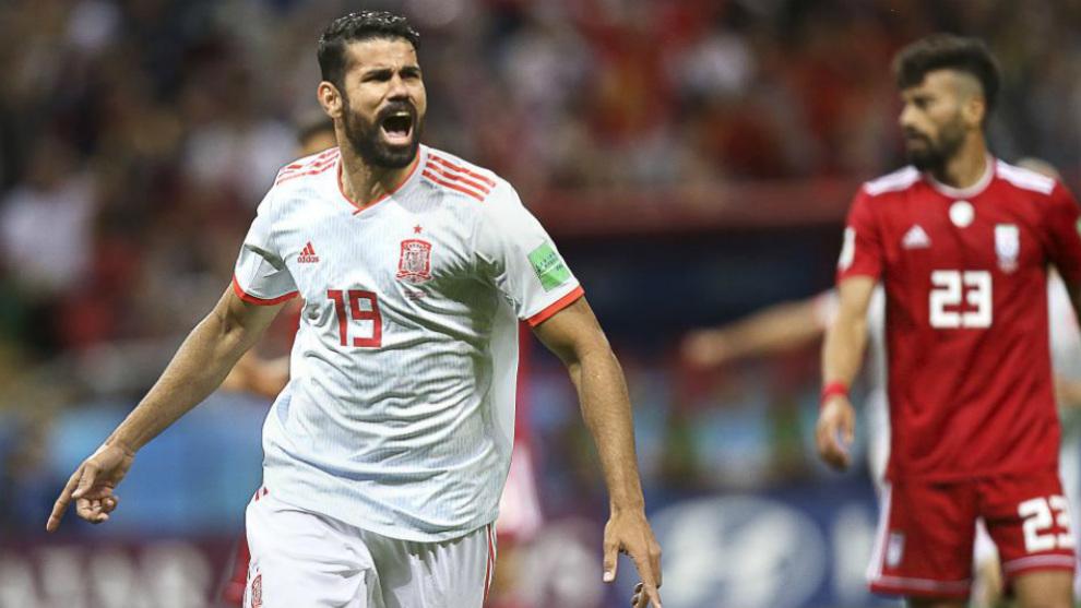 Diego Costa celebra su gol a Irán