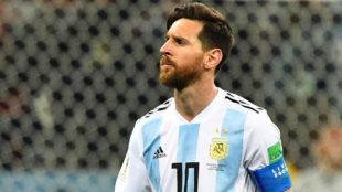 Cara de circunstancias de Messi contra Croacia.