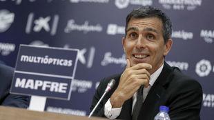 Muñiz, durante la rueda de prensa de su presentación con el Málaga.