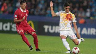 Merino, en un partido con la selección española sub 21.