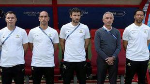 Australia's assistant coach Marc van Bommel (C)