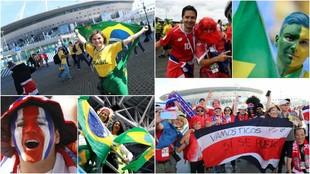 Aficionados de Brasil y Costa Rica ponen el color en las calles de San...