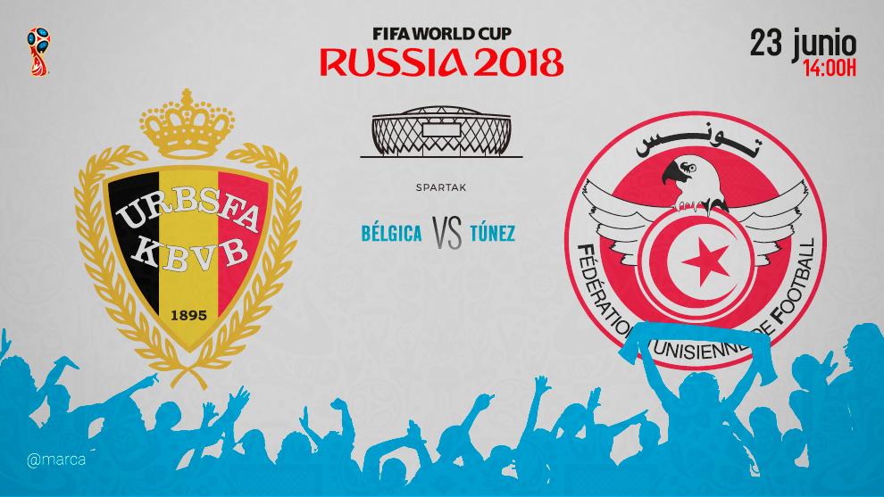 Partido entre Bélgica y Túnez el sábado 23 a las 14;00