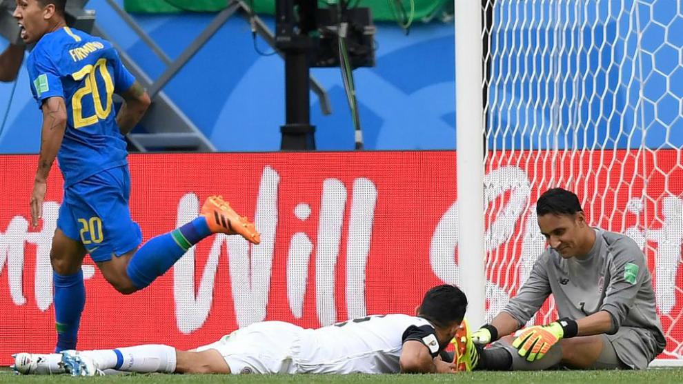 Keylor Navas, desolado tras el gol de Coutinho que suponía el 1-0