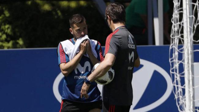 Jordi Alba y Lopetegui, en un entrenamiento.