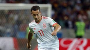 Lucas Vázquez durante un partido de España.