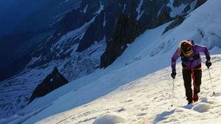 Emelie Forsberg, en el Mont Blanc.