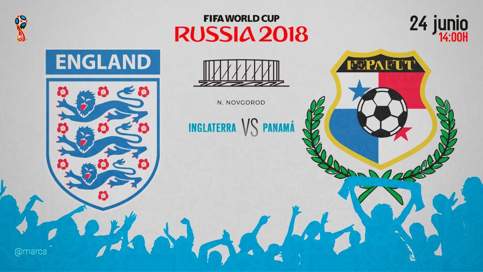 Partido Inglterra vs Panamá el domingo 24 de junio a las 14:00