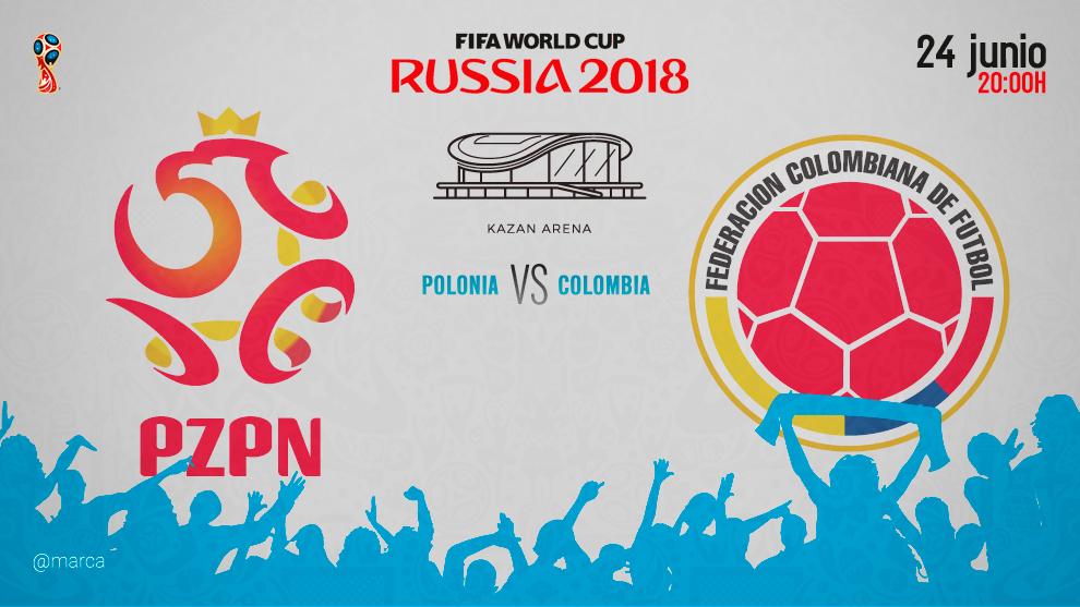 Partido entre Polonia y Colombia el domingo 24 a las 20:00