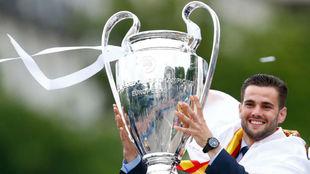 Nacho, con su última Champions en la celebración de Cibeles