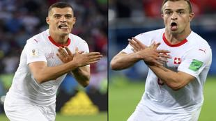 Xhaka and Shaqiri making the controversial gesture