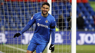 Jorge Molina celebra un gol con el Getafe.