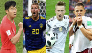 Son, Toivonen, Reus y Chicharito celebran sus goles