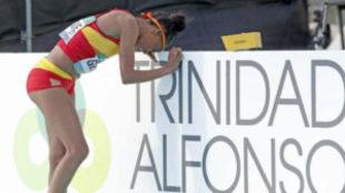 Trihas Gebre a la conclusión del Mundial de Medio Maratón disputado...