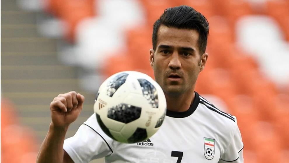Masoud, en un partido con Irán.