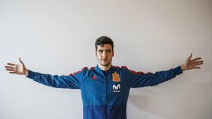 Merino, durante una convocatoria con la selección española sub-21