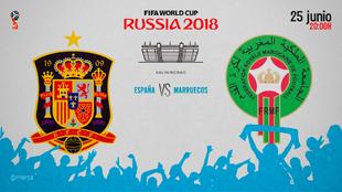 Partido España vs Marruecos el lunes 25 de junio a las 20:00.
