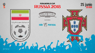Partido entre Portugal e Irán, el lunes 25 de junio a las 20:00