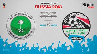 Partido Arabia Saudí vs Egipto el lunes 25 de junio a las 16:00