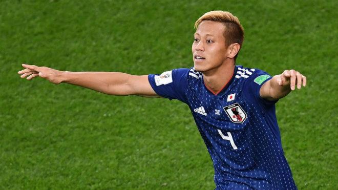 Keisuke Honda celebra su gol frente a Senegal.