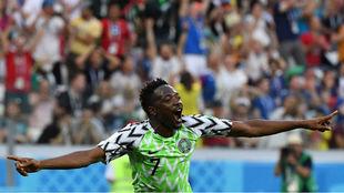 Musa celebra uno de sus goles frente a Islandia.