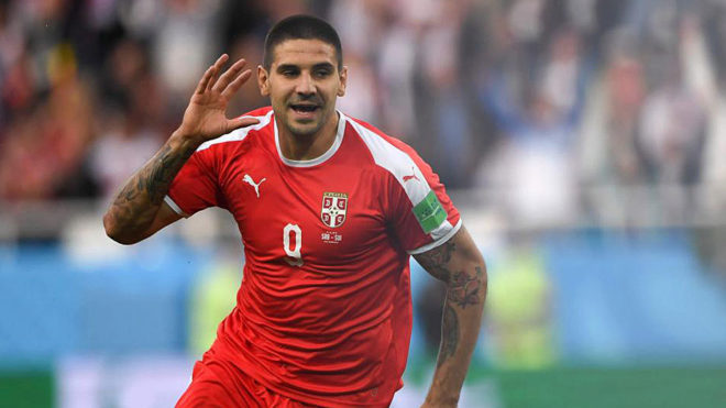 Mitrovic celebrates his goal against Switzerland.