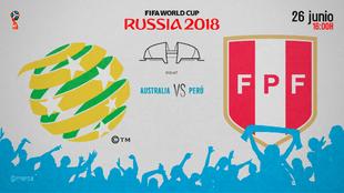 Partido entre Australia y Perú el martes 26 de junio a las 16:00