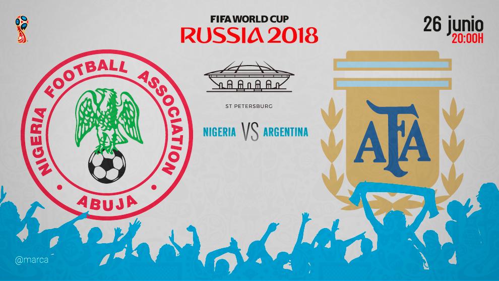 Partido del Mundial de Rusia entre Argentina y Nigeria el martes 26 de...