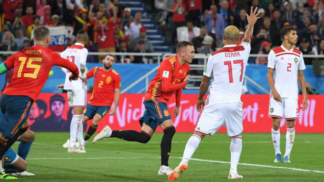 Iago Aspas celebrates after the VAR confirmed his goal during the...