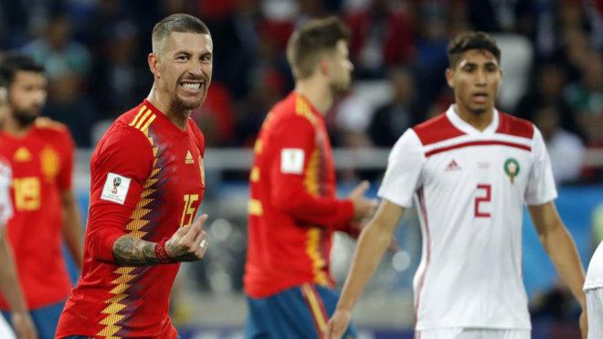 Sergio Ramos, en el partido ante Marruecos.