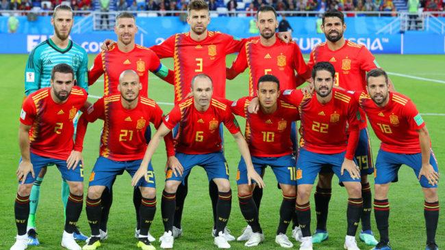 Once de España en el partido ante Marruecos.