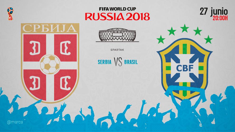Partido entre Serbia y Brasil el miércoles 27 de junio a las 20:00.