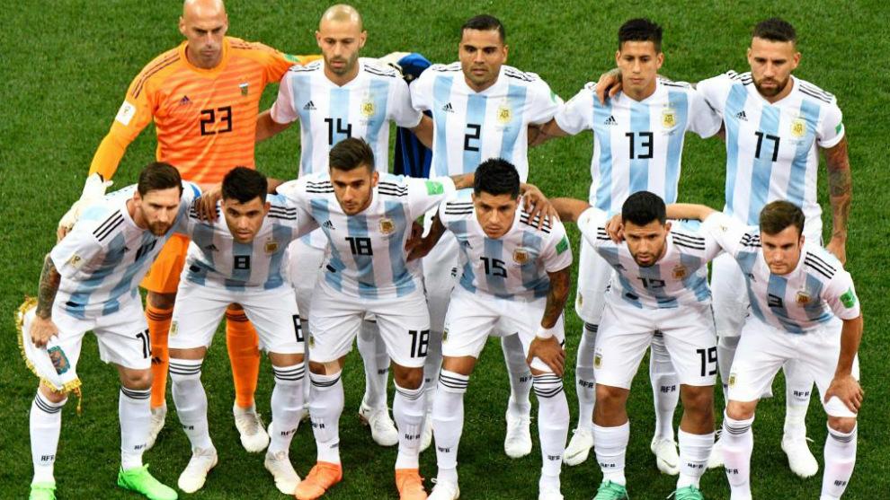 Equipo de Argentina en su encuentro del Mundial de Rusia ante Croacia