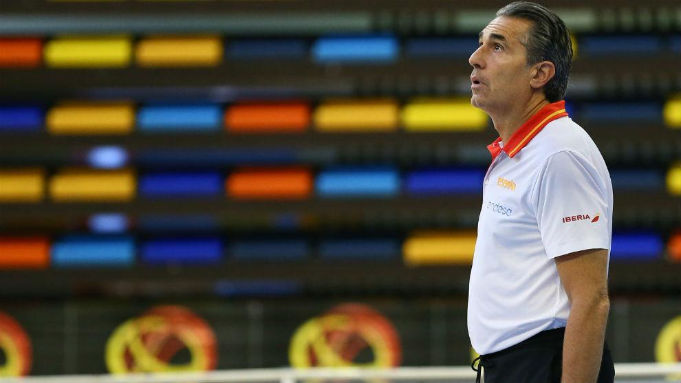 Sergio Scariolo durante un entrenamiento de la selección española