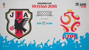 Partido entre Japón y Polonia el jueves 28 de junio a las 16:00