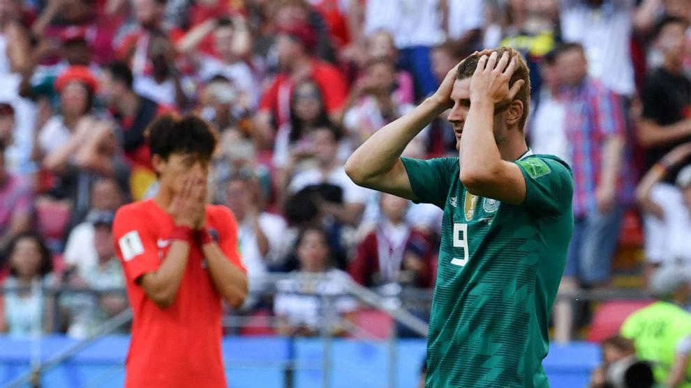Werner se lamenta en una imagen del Corea del Sur-Alemania