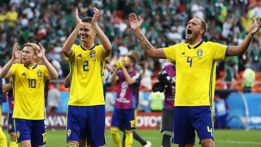 Alegría sueca tras el triunfo ante México