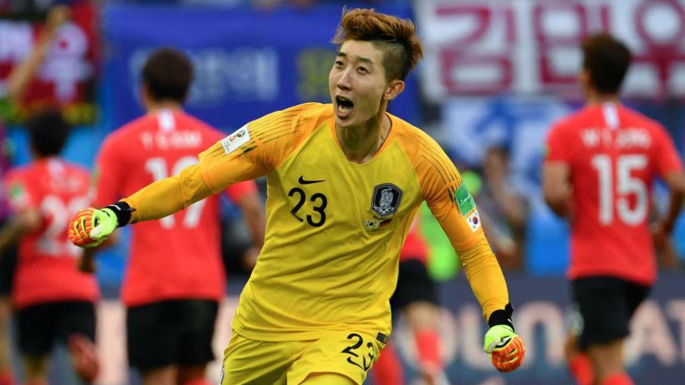 Cho Hyun-woo celebra la victoria sobre Alemania.