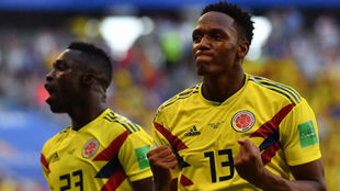 Yerry Mina celebra el tanto conseguido ante Senegal.