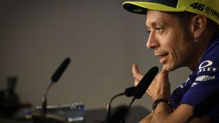 Rossi, durante la rueda de prensa de ayer en Assen