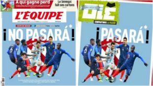 La portada de L'Equipe hoy y la respuesta de Olé.