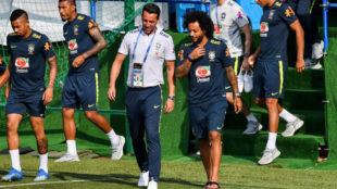 Marcelo, antes de la sesión de trabajo de Brasil en Sochi.