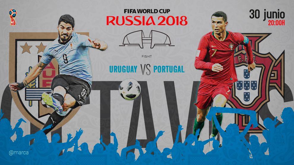 Partido de octavos de final entre Uruguay y Portugal el sábado 30 de...