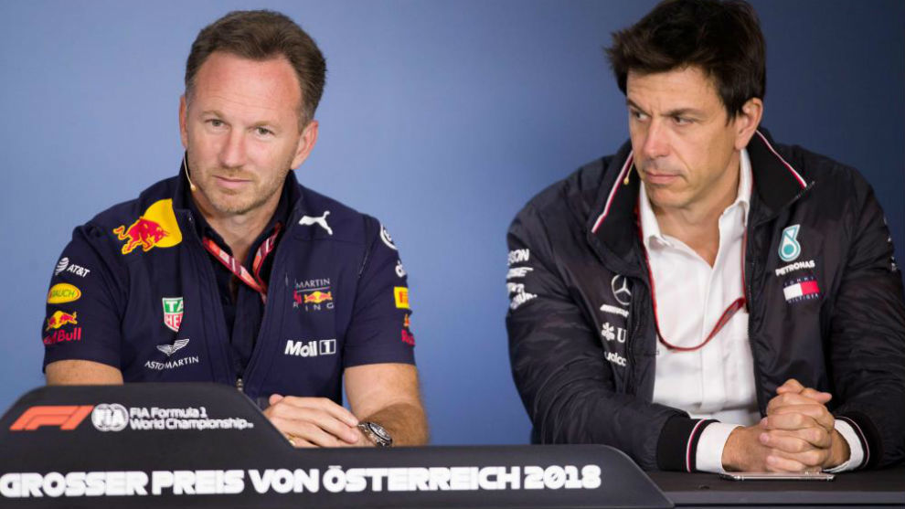 Horner y Wolff durante la rueda de prensa de hoy en el Red Bull Ring.