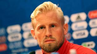 Kasper Schmeichel, durante una rueda de prensa en el Mundial