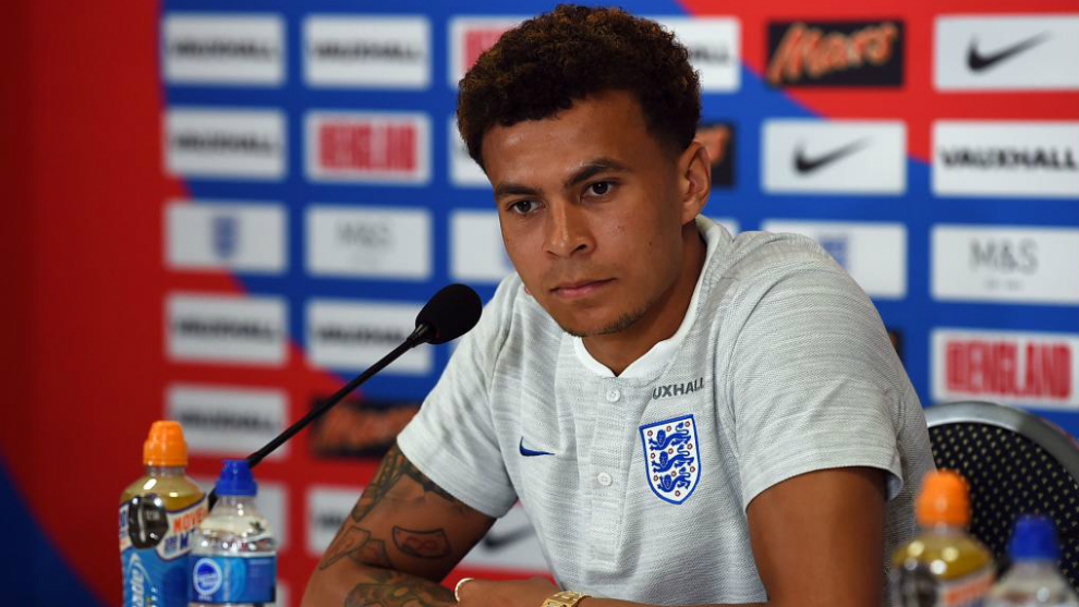 Dele Alli, during a press conference at the World Cup in Russia