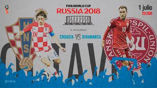 Partido de octavos de final entre Croacia y Dinamarca el 1 de julio...