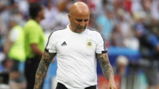 Jorge Sampaoli, durante el encuentro entre Francia y Argentina